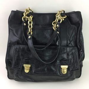 Coach Black Leather Poppy Pushlock Tote Bag